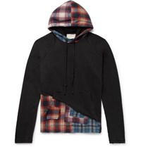 Greg Lauren Panelled Distressed Loopback Cotton Jersey And Checked Cotton Flannel Hoodie Black