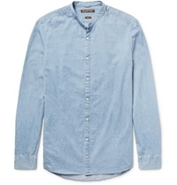 Michael Kors Slim Fit Grandad Collar Denim Shirt Light Denim