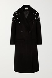 Christopher Kane Crystal Embellished Double Breasted Wool Blend Coat Black