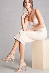 Forever 21 Lace Up Ankle Wrap Pumps Nude