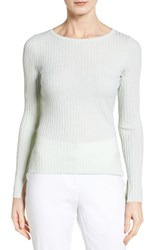 Classiques Entierr Women's Entier Slit Cuff Merino Wool And Silk Pullover Green Aqua