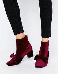 Asos Rayal Bow Ankle Boots Burg Velvet Brown