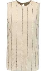 Brunello Cucinelli Embellished Embroidered Silk Blend Chiffon Top Cream