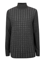 Topman Lux Grey Textured Check Longline Jumper
