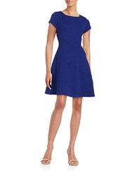Gabby Skye Plus Textured Fit And Flare Dress Cobalt