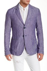 Ganesh Blue Linen Two Button Notch Lapel Blazer