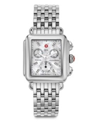Michele Deco Diamond Mother Of Pearl And Stainless Steel Chronograph Bracelet Watch Silver