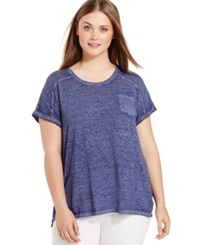 Style And Co. Plus Size Short Sleeve Patch Pocket Tee Ink