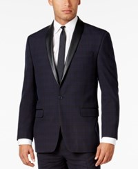 Sean John Men's Classic Fit Blue Plaid Tuxedo Jacket Navy