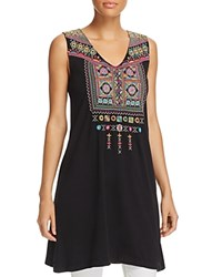 Johnny Was Collection Dita Long Embroidered Tank Black