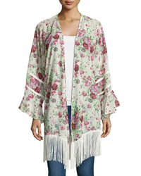 Romeo And Juliet Couture Floral Fringe Hem Long Sleeve Kimono Ivory Dark Mauve