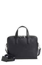 Boss 'S Timeless Leather Document Briefcase Blue Navy