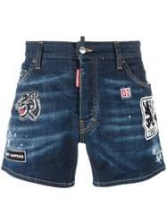 Dsquared2 Sport Packo Distressed Patch Shorts Blue
