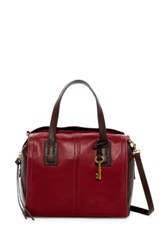 Fossil Emma Colorblock Leather Satchel Red