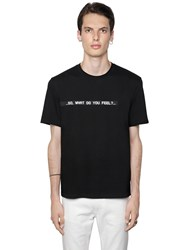 Msgm What Do You Feel Cotton Jersey T Shirt