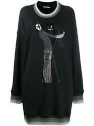 Marco De Vincenzo Oversized Embellished Sweatshirt Black