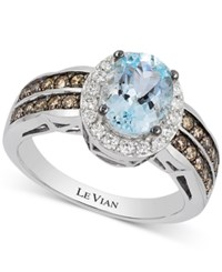 Le Vian Chocolatier Aquamarine 1 3 8 Ct. T.W. And Diamond 2 3 Ct. T.W. Ring In 14K White Gold