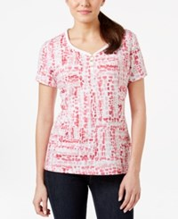 Karen Scott Short Sleeve Printed Top Only At Macy's