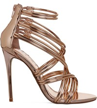 Office Nadia Strappy Metallic Sandals Rose Gold Mirror