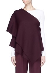 Ms Min Convertible Tiered One Shoulder Wool Cape Top Purple