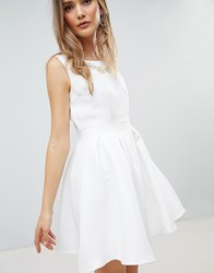 Zibi London Structured Skater Dress White