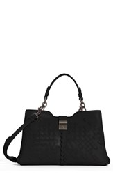 Bottega Veneta Small Napoli Top Handle Satchel Black