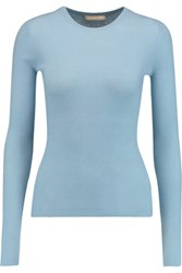 Michael Kors Collection Ribbed Cashmere Sweater Light Blue
