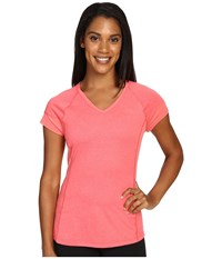 The North Face Reactor V Neck Short Sleeve Calypso Coral Heather Calypso Coral Women's Short Sleeve Pullover Pink