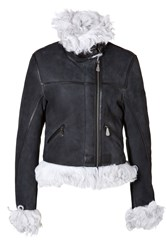 Mcq By Alexander Mcqueen Mcq Alexander Mcqueen Leather Boxy Biker Jacket In Dark Green Ice Black
