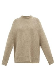 Raey Crew Neck Basketweave Wool Sweater Beige