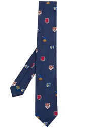 Polo Ralph Lauren Animal Head Print Tie Blue