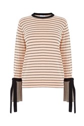 Warehouse Stripe Tie Cuff Jumper Ecru