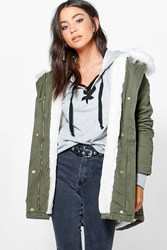 Boohoo Boutique Faux Fur Lined Parka White