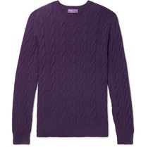 Ralph Lauren Purple Label Cable Knit Cashmere Sweater Purple