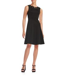 Ivanka Trump Chain Accented Fit And Flare Dress Black