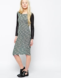 Wal G Knitted Midi Dress With Leather Look Sleeves Green