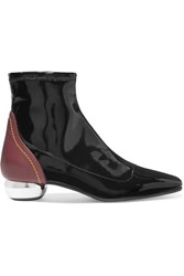 Ellery Smooth And Patent Leather Ankle Boots Black