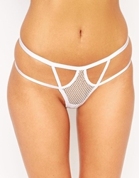 Asos Risky Business Fishnet Strappy Thong White