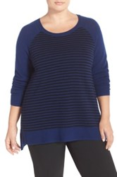 Sejour Wool And Cashmere Scoop Neck Sweater Plus Size Blue