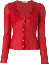 Christian Dior Vintage Georgette Top Red
