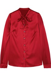 Dolce And Gabbana Pussy Bow Silk Blend Satin Blouse Red