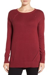 Caslonr Petite Women's Caslon Pointelle Detail Button Back Tunic Sweater Red Cordovan