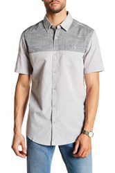 Burnside Colorblock Short Sleeve Woven Shirt Gray