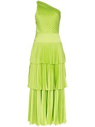 Solace London Larrisa One Shoulder Pleated Dress Green