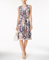 Charter Club Printed Fit And Flare Belted Dress Only At Macy's Midnight