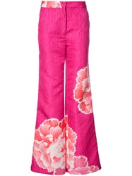 Josie Natori Wide Leg Peony Trousers Pink And Purple