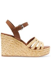 Prada Leather And Woven Raffia Espadrille Wedge Sandals It35.5