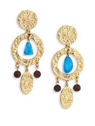 Oscar De La Renta Hammered Disc Turquoise Drop Earrings Cyan