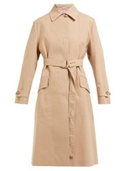 Stella Mccartney Single Breasted Cotton Trench Coat Camel
