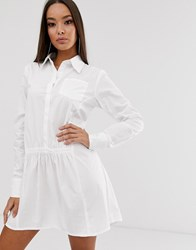 Prettylittlething Smock Shirt Dress With Pleat Detail In White
